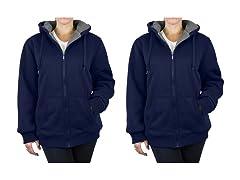 Women's Loose Fit Sherpa Hoodie 2-Pack