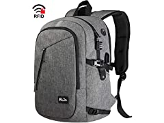 "Raydem 15.6"" RFID Laptop Backpack, Grey"