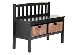 Black Bench w/ Brown Rattan Baskets