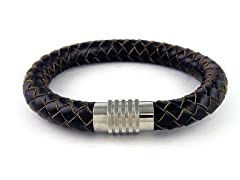 Thick Round Braided Leather Bracelet, Brown