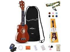 """ADM Beginner 21"""" Soprano Ukulele Starter Kit"""