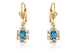 18K GP Aqua Clear Crystal Drop Earring