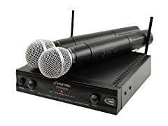 Wireless Dual Channel UHF Microphone System w/ 2 Mics