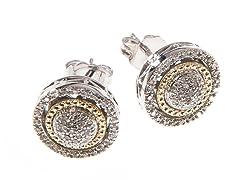 Silver & 14k Gold Diamond Earrings