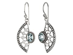 Crescent Spoke Blue Topaz Earrings