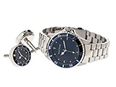 Men's Watch, Cufflink Set, Blue Dial