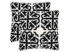 Moroccan Pillows-Black-Set of 2