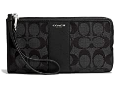 Coach Legacy L-Zip Zippy Wallet in Signature Fabric, Silver/Black
