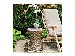 Brown Wicker Garden Stool/Side Table