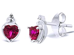 2/3ct Created Ruby Heart Earrings
