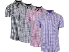GBH Men's SS Slim Fit Gingham Shirt