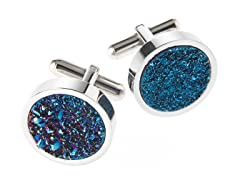 Polished SS & Genuine Blue Drusy Quartz Cufflinks