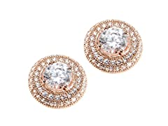 Sterling Silver CZ Halo Earring, Large, Pink