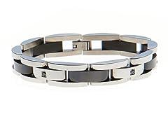Black CZ Semi Circle Link Bracelet