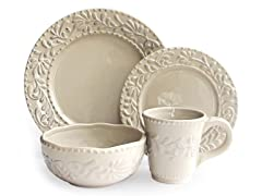American Atelier Bianca Leaf Gray 16pc Dinnerware Set