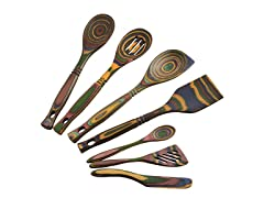 Exotic Pakkawood 7-Piece Kitchen Utensil Set