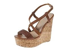 Carrini Strappy Braided Wedge Sandal, Tan