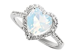 Heart Cut Opal and Crystal Ring