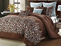 Jardin 8Pc Comforter Set-Brown-2 Sizes