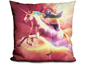 Epic Space Sloth Riding On Unicorn Pillow