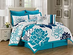 Whitfield 8Pc Comforter Set-Blue-2 Sizes