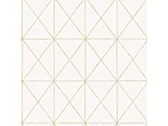 White & Gold Get In Line Peel & Stick Wallpaper