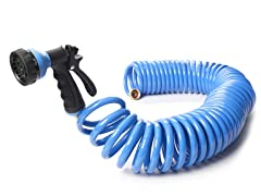 50 Ft Blue Coil Garden Hose with Nozzle
