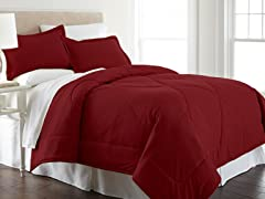 Micro Flannel® Comforter Set-Wine-3 Sizes