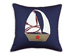 Duck Navy Sailboat 17x17 Pillows-S/2