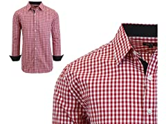 GBH Men's LS Gingham Plaid Dress Shirt