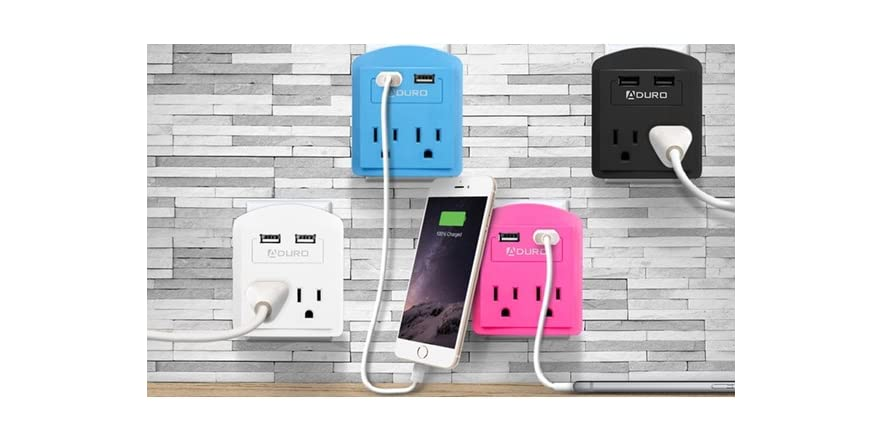 Aduro Mini Surge Protector with 2 Outlets & 2 USB Ports - 2 Pack   WOOT