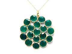 18k Gold Plated SS Dyed Emerald Necklace
