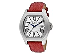 a_line Adore Silver Dial,Red Textured Band