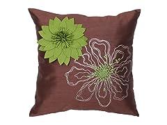 Full Bloom Green 18-inch Pillow