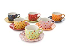 Classic Coffee & Tea Polka Dot Tea Cups & Saucers Set