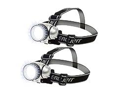 7-LED Adjustable Headlamp, 2-Pack