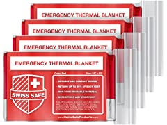 Red Emergency Mylar Blanket (4-pack)