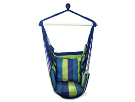 Sorbus Hanging Rope Hammock Chair Swing Seat, Blue