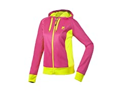 Fila Women's Fleece Hoody, Pink/Yellow