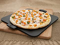 "Square Glaze Pizza Stone 14.5""- Black"