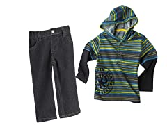 Hooded Twofer & Jeans Set (18M)
