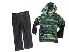 Hooded Twofer & Jeans Set (12M-18M)