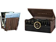 Victrola Wood Record Player & Record Stand Bundle