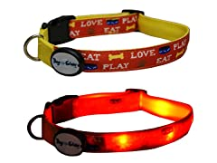 Dog-e-Glow Eat, Play, Love LED Collar - Large