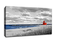 Red Lighthouse on Lake Michigan