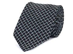 Silk Tie, White & Neon Blue