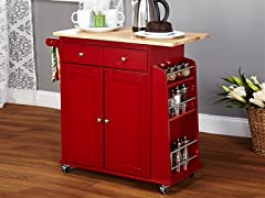 Sonoma Kitchen Cart  Red/Natural