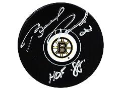 Brad Park Bruins Signed Puck, HOF 88