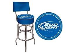 Bud Light Blue Padded Bar Stool w/ Back
