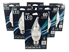 Feit Electric E26 LED Flame Tip Chandelier Bulb (6-Pack)